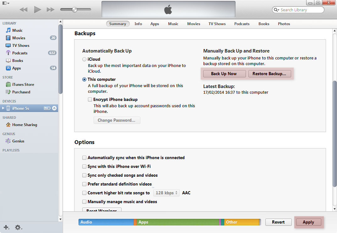 Backup your iPhone on Mac PC